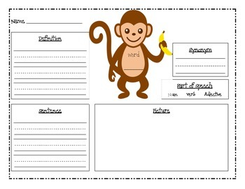 Monkey Themed Vocabulary Practice Pages