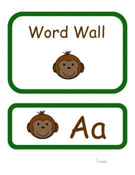 Monkey Themed Word Wall Headers