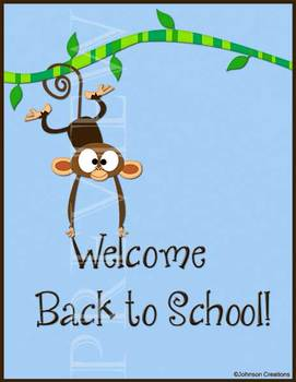 Monkey Welcome Back to School Sign
