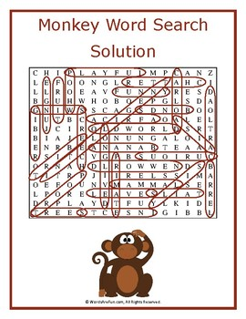 Monkey Word Search Puzzle