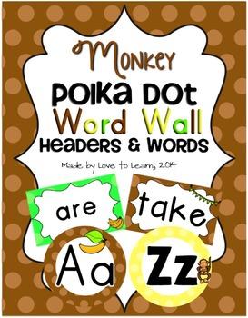 Monkey Word Wall Headers & 200 Words - Polka Dot