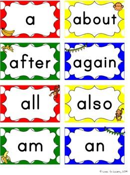 Monkey Word Wall Headers & 200 Words - Primary Polka Dot