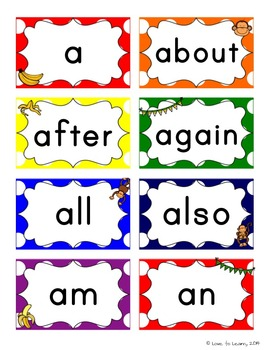Monkey Word Wall Headers & 200 Words - Rainbow Polka Dot