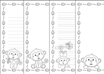 Monkey Writing Paper - Black and White - 3 Styles