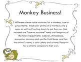 Monkey and Ape Science Table Activities