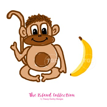 Monkey and Banana Clip Art - Tracey Gurley Designs