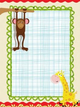 Monkey and Giraffe Frame/Border