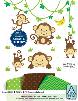 Monkey clipart cute monkey banana clipart jpeg png