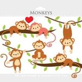 Monkey clipart - monkeys clip art cute monkey jungle clipart animals nursery