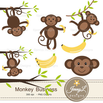 Monkey digital paper and clipart