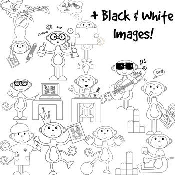 Classroom Clipart for TpT Sellers!- Monkey at Work. With Black & White Images.