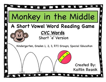 Monkey in the Middle CVC Short 'e' Word Reading Game