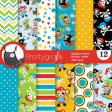 Monkey pirate papers, commercial use, scrapbook papers - PS810