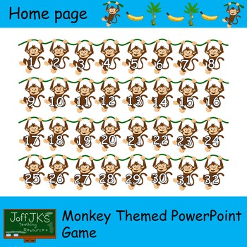 Monkey themed PowerPoint review game (editable)