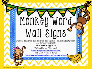 Monkey themed Word Wall signs!