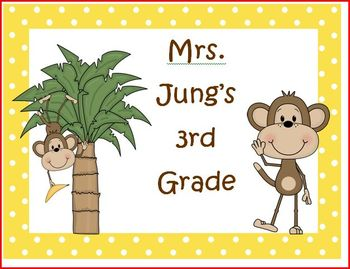 Monkey themed classroom pack - editable