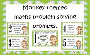Monkey themed maths problem solving prompts