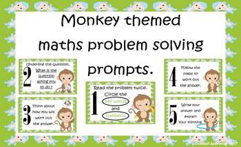 Maths Problem Solving Prompts: Monkey theme