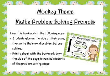Monkey themed maths problem solving prompts - bookmarks