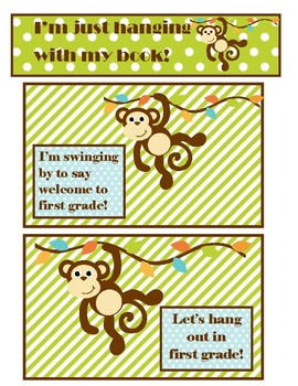Monkey welcome to school post cards & bookmark