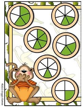 Monkeying Around Fractions File Folder Game