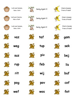 Monkeying Around With Nonsense Words Popsicle Game!
