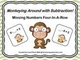 Monkeying Around With Subtraction!  Missing Numbers Four-In-A-Row Game