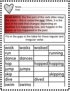Tenses and Verbs Revision Pack