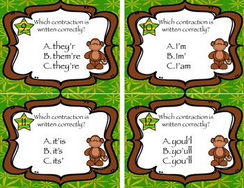 Monkeying Around with Contractions Task Cards