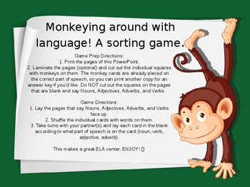 Monkeying Around with Language Game - Nouns Verbs Adjectives and Adverbs