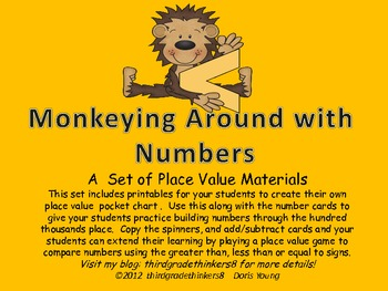 Monkeying Around with MathPlace Value Pocket Chart and Cards with Game