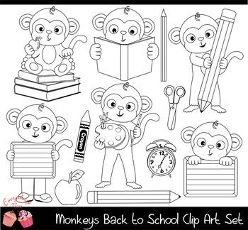 Monkeys Back to School Clipart Set