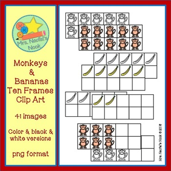 Ten Frames Clip Art - Monkeys and Bananas