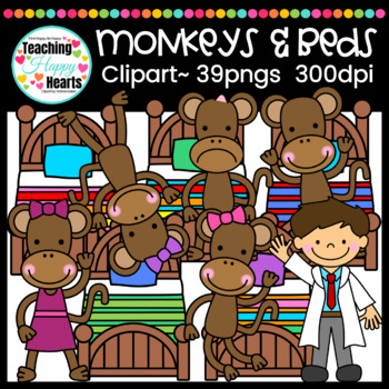 Monkeys & Beds Clipart