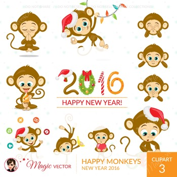 Monkeys, Christmas, New Year, commercial use, vector graphics, digital clip art