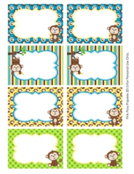 Monkeys Classroom Decor Bin Tag Labels