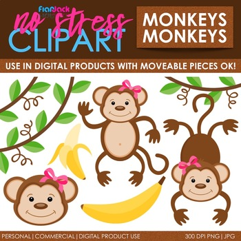 Monkeys Clip Art (Digital Use Ok!)