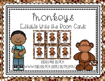 Monkeys~ Editable Write the Room