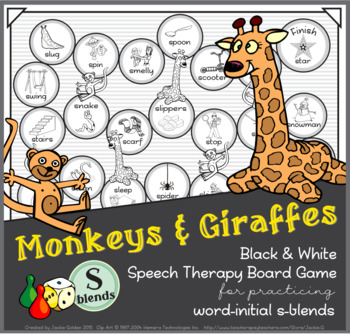Monkeys & Giraffes B&W Board Game – /s/ consonant blends