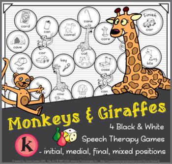 Monkeys & Giraffes Speech Therapy Board Game – /k/ – Black & White