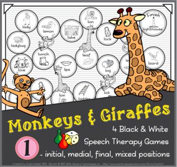 Monkeys & Giraffes Speech Therapy Board Game – /l/ – Black & White