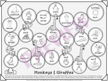 Monkeys & Giraffes Speech Therapy Board Game – /s/ – Black & White
