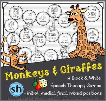 Monkeys & Giraffes Speech Therapy Board Game – 'sh' – Black & White