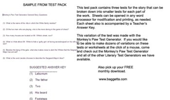 Monkey's Paw Exam Pack