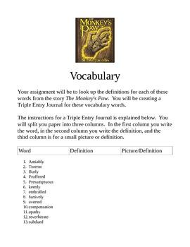 Monkey's Paw Triple Entry Journal Vocabulary