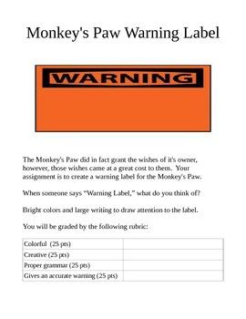 Monkey's Paw Warning Label