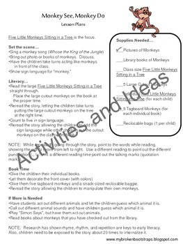 Literacy Activities and Book - Five Little Monkeys Sitting in a Tree