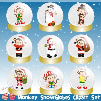 Monkeys Snowglobes Snow Globes Clipart Set
