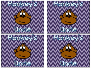 Monkey's Uncle First Grade Dolch Word Card Game
