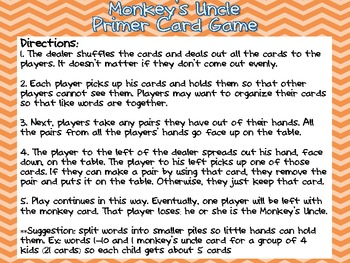 Monkey's Uncle Primer Dolch Word Card Game